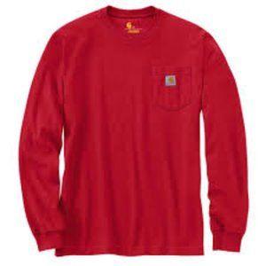 CARHARTT Men's Red Long Sleeve Shirt w/pocket Logo
